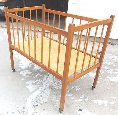 Vintage Antique Baby Crib--Wood Rolling Bed--For Display Only--Very Nice Patina