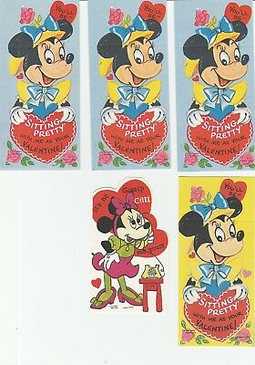 Vintage Valentines Lot of 5 Minnie Mouse Cards Disney