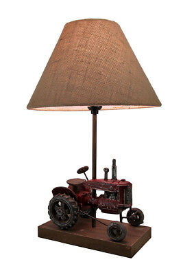 Red Antique Finish Vintage Farm Tractor Table Lamp w/Burlap Fabric Shade 20 In.