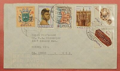 1972 Angola Portugal Multi Franked Airmail To Usa