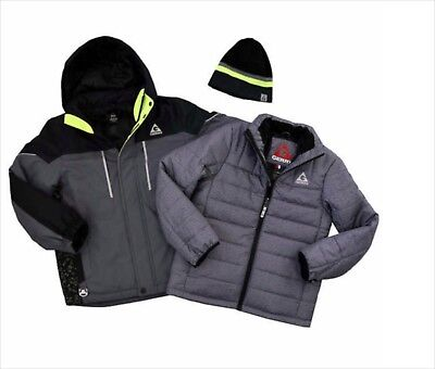 Boys Winter Hooded Jacket All Weather Coat Gray Size Large 14 16 Knit Beanie NWT