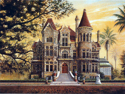 Galveston Bishop's Palace Gresham Castle Victorian Queen Anne SIGNED by Souders