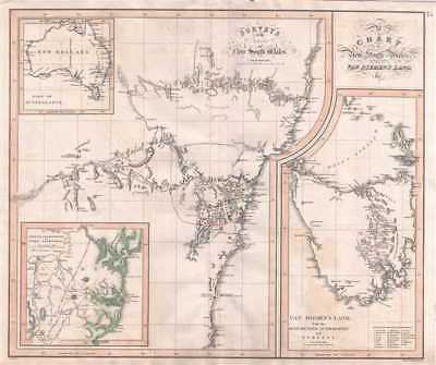 1827 Aspin Map of the Oxley Expedition New South Wales, Australia and Tasmania
