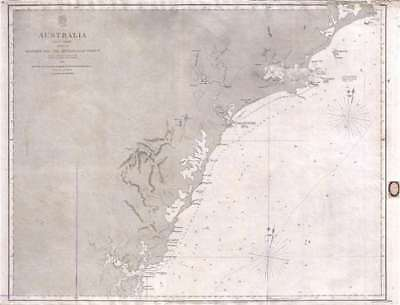 1861 Stokes Admiralty Chart or Map of Eastern Australia (North of Sydney)