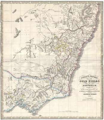 1852 Phillip Map of the Gold Fields of New South Wales, Australia