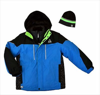 Boys Winter Hooded Jacket All Weather Coat Blue Size Large 14 16 Knit Beanie NWT