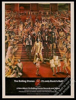 1974 Rolling Stones pic It's Only Rock n Roll album release vintage print ad