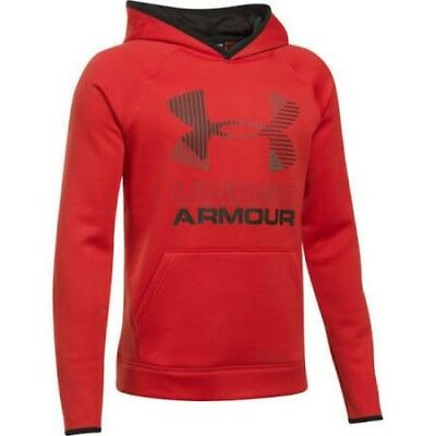 Under Armour Boys Sg Af Solid Big Logo Hoody Red 100% Authentic New