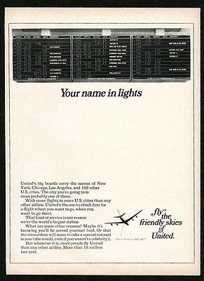 1967 United Airlines airport flight information board photo vintage trade ad