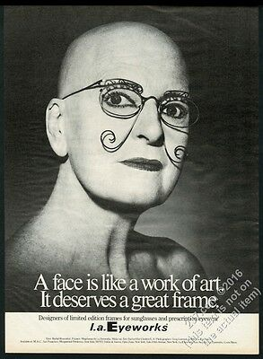 1990 Rachel Rosenthal photo L.A. Eyeworks glasses vintage print ad