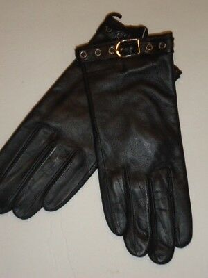 Ladies Buckle Cuff Thinsulate Genuine Leather Gloves,Black, Small