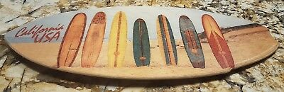 "Wood Mini Surfboard California Decor 8.5"" x 20"""