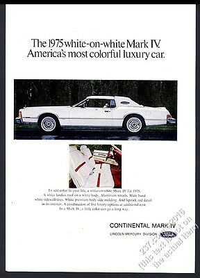 1975 Lincoln Continental Mark IV white on white car photo vintage print ad