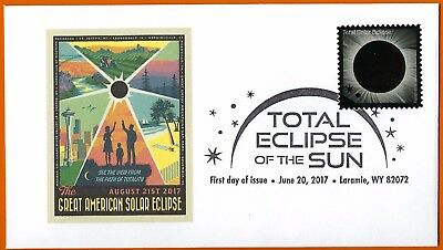 Great American Solar Eclipse USA. August 21, 2017, FDC Postal Cover and Stamp