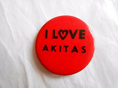 Vintage I Love Akitas Dog Breed Pinback Button