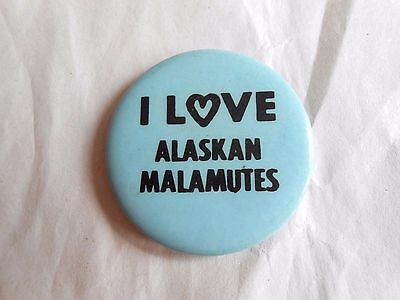 Vintage I Love Alaskan Malamutes Dog Breed Blue Pinback Button