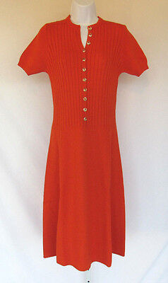 VINTAGE 1960s 70s ST. JOHN MARIE GRAY KNIT DRESS CARROT ORANGE GOLDEN BUTTONS
