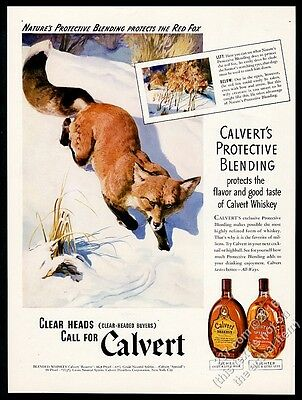 1941 red fox in snow art Calvert Reserve Special Whiskey vintage print ad