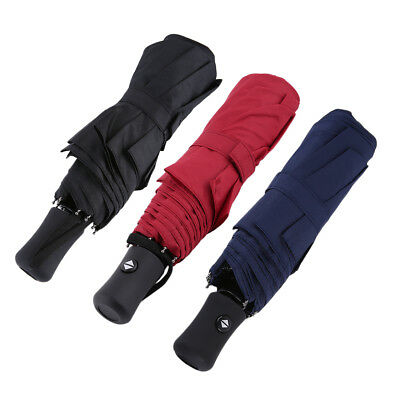 Windproof Umbrella Push Button Automatic Double Canopy Black/Navy Unisex 8 Ribs
