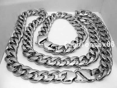 Hot Silver 15mm Cool Heavy Curb Chain Stainless Steel Mens Bracelet Necklace Set