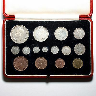 1937 King George Vi Great Britain Silver Bronze Nickel Brass Proof Coin Set
