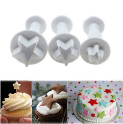3X Little Star mold Sugar Arts Plunger Cookie Cake Decor Embossing Mould New