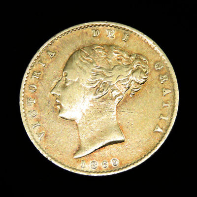 1869 Sheild Back Bunhead Half Sovereign