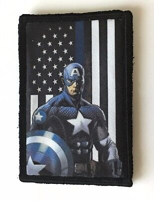 Captain America Thin Blue Line Morale Patch Tactical Military Flag USA Police