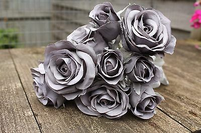 9 x MID GREY SILK ROSES & ROSE BUDS TIED BUNCH / SMALL BOUQUET