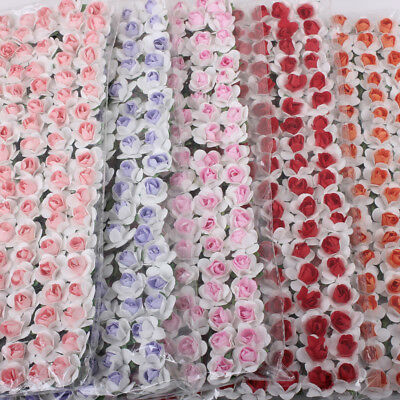 144pcs/Pack Mulberry Paper Rose Flowers Wire Stems For Card Making Craft Favours