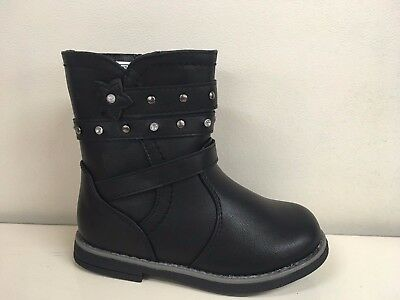 New Girls Infant Black Chatterbox Lucy Boots Stud Strap Size 4 7 8 9 10 SALE
