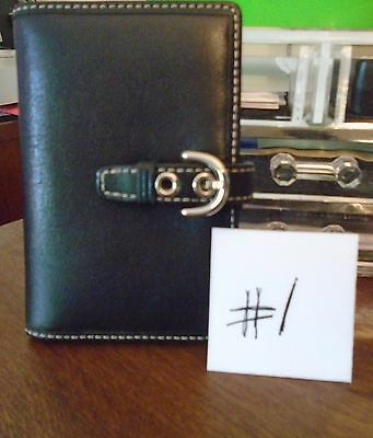 Coach Black Leather Planner  3X5 Perfect Purse Size