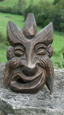 SUPERB 19thc GOTHIC WOODEN OAK CARVED DEVILISH HEAD