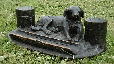 SUPERB 19thc BLACK FOREST OAK CARVED DOUBLE INKWELL WITH DOG