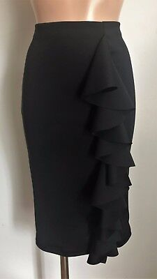 Black Stretchy Midi Smart Pencil Frill Wiggle Causal Skirt Size 10 - 20