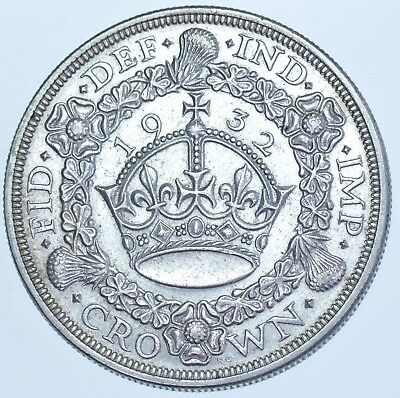 Very Rare 1932 Wreath Crown British Silver Coin From George V [Only 2395 Struck]