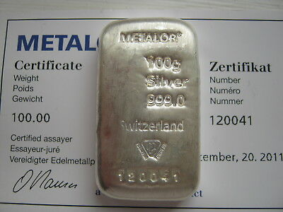100 Gram Silver Bar Metalor Comes With Certifcate Of Authenticty
