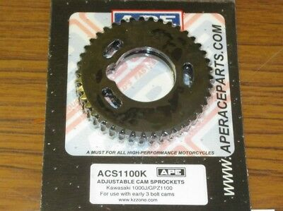 Kawasaki GPZ1100 APE adjustable cam sprockets for use with early 3 bolt cams