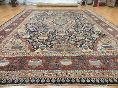 SUPER FINE 1950s PERSIAN PICTORIAL ARCHEOLOGICAL KASHMAR 10x13 RUG