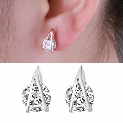 1Pair Women Clear Round CZ Cubic Zirconia V-shape Stud Earrings Fashion Jewelry