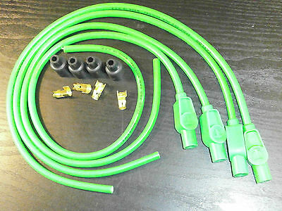 Suzuki Taylor Lime Green Ignition Leads & Colour Moulded Plug Caps.