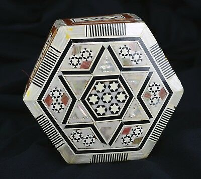 Egyptian. Mother of Pearl Inlaid Wood Jewelry Box Handmade Star Octagonal Shape