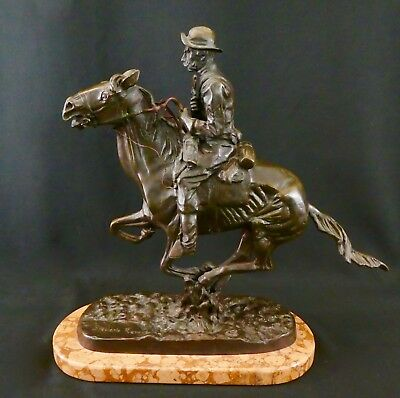 Frederic Remington TROOPER OF THE PLAINS. Bronze Reproduction Circa: 1990