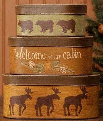 Primitive Country Lodge WELCOME TO OUR CABIN Moose Bear Pine Star Stacking Boxes