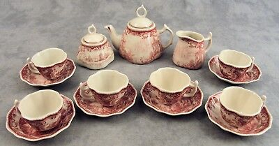 CHILDS MINIATURE 15 Pc RED & CREAM VICTORIAN COUNTRY TOILE TEA SET SERVICE FOR 6