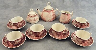 RED & CREAM 15 Pc CHILDS MINIATURE VICTORIAN COUNTRY TOILE TEA SET SERVICE FOR 6