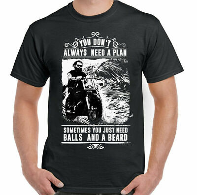 Balls & A Beard Mens Funny Biker T-Shirt Motorbike Motorcycle Indian Cafe Racer