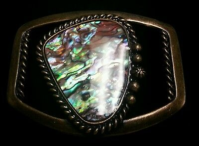 Antique Brass Abalone Stone Buckle