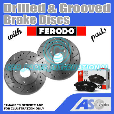 Mazda CX-7 2.3 Turbo 09//07-04//09 Front Brake Discs Drilled Grooved Gold Edition