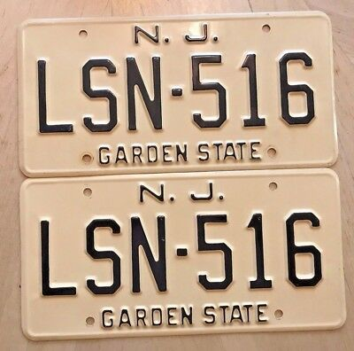 "1967 New Jersey Auto Passenger License Plate Plates Matching Pair "" Lsn 516 "" Nj"
